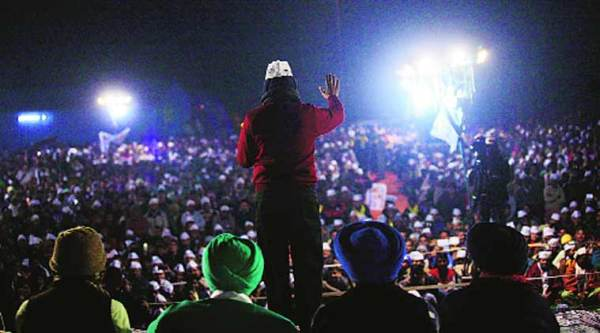 Kejriwal in Trilokpuri during the campaign.(File)