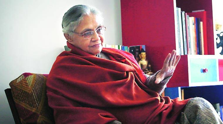 Sheila Dikshit at her residence in Nizamuddin East. (Source: Express Photo by Oinam Anand)