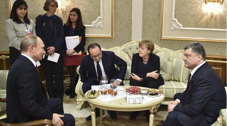 Ukraine, Russia, Russia in Ukraine, Ukraine minsk meet, Putin, Poroshenko, Ukraine peace talks, four way talks Ukraine, ukraine violence, Ukraine Russia conflict, Ukraine conflict, Hollande, Merkel, World News