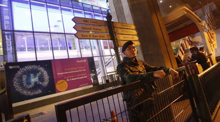 Security tightens after two bombs have detonated at a high end luxury shopping mall in Bangkok. (AFP)
