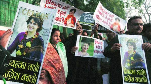 Protesters want Priyanka Vadra to join the Congress in New Delhi on Tuesday. (Renuka Puri)