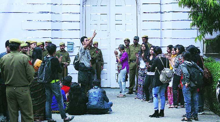 College students protest at Parliament Street police station on Saturday.PRAVEEN KHANNA