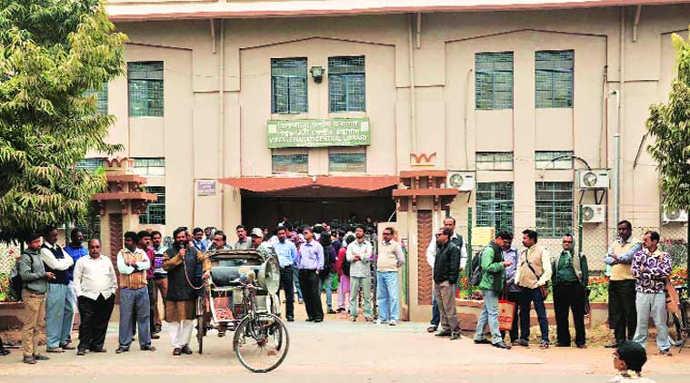Since January 25, the university has witnessed a cease work at all departments, leading to the virtual closure of India's first central university, set up by poet Rabindranath Tagore.  (Source: Express Photo)