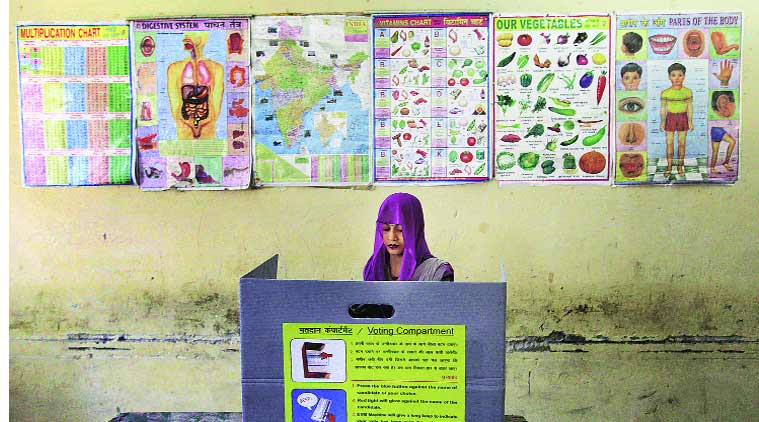 Northeast Delhi witnessed the highest voter turnout of 66.73%. (Source: Express Photo by Ravi Kanojia)