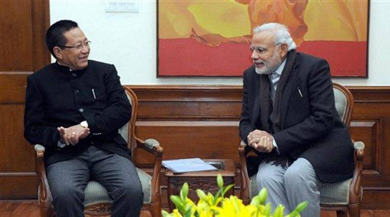 Prime Minister Narendra Modi with Chief Minister of Nagaland, T.R. Zeliang at a meeting in New Delhi on Wednesday. (Source: PTI)