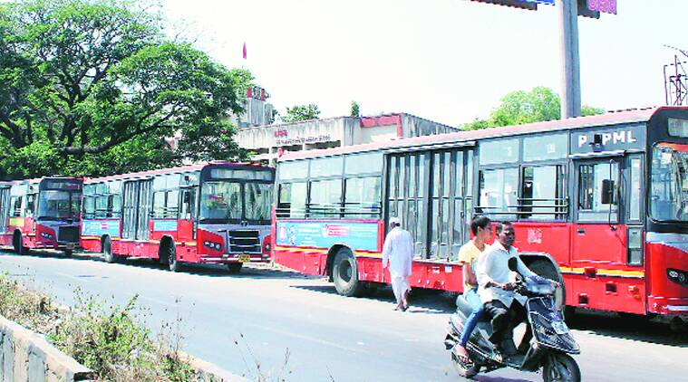 PMPML buses parked on a public road in Pune. (Source: Express photo)