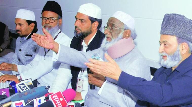 AIMPLB leaders address the meet in Jaipur on Sunday.  (Source: PTI photo)