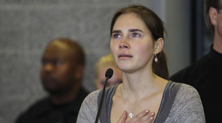 FILE - In this Oct. 4, 2011 file photo Amanda Knox gestures at a news conference in Seattle, after returning home from Italy. Italy's highest court overturns Friday, March 27, 2015 Amanda Knox murder conviction, closing legal saga. (Source: AP)