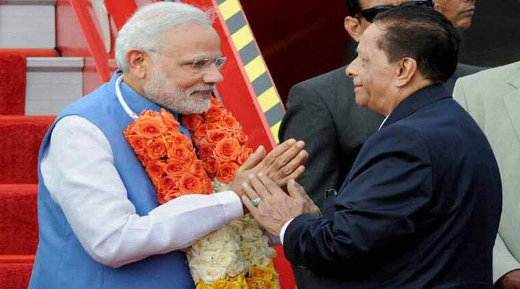 PM Modi with his Mauritian counterpart, Sir Anerood Jugnauth. (Source: Indian Express Archive)