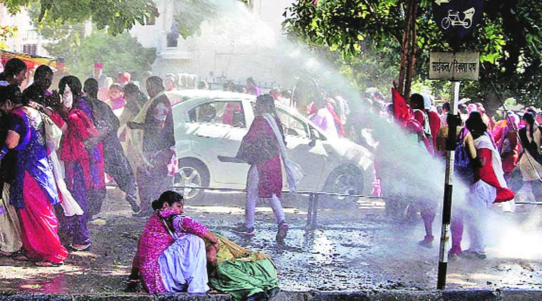 Water cannons, tear gas greet anganwadi workers walking to