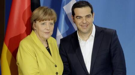 German Chancellor Angela Merkel, and the Prime Minister of Greece, Alexis Tsipras, after a press conference as part of a meeting at the chancellery in Berlin.