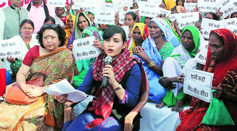 Aparna Yadav protests against the BBC documentary India's Daughter in Lucknow on Monday.(Source: Express photo Vishal Srivastav)