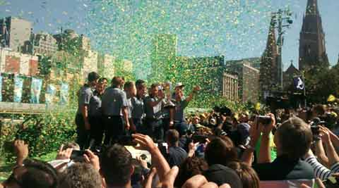 Melbourne celebrates Australia's 5th World Cup win