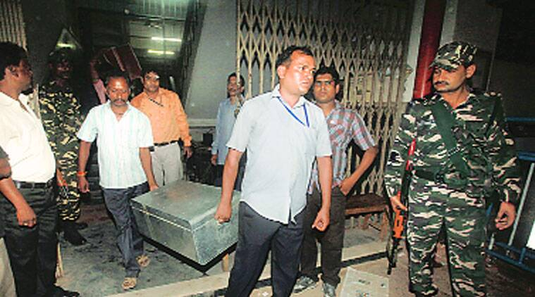 A trunk containing documents in connection to the Burdwan blast case being taken out of special NIA court in Kolkata on Monday. (Source: Express photo by Partha Paul)