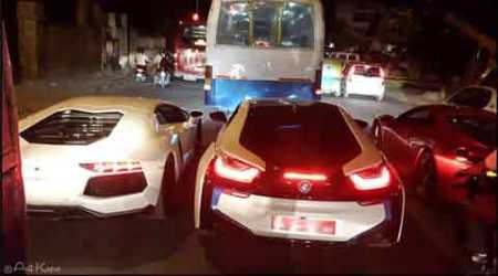 Viral: BMW, Ferrari and Lamborghini stuck in Bangalore traffic behind a BMTC bus