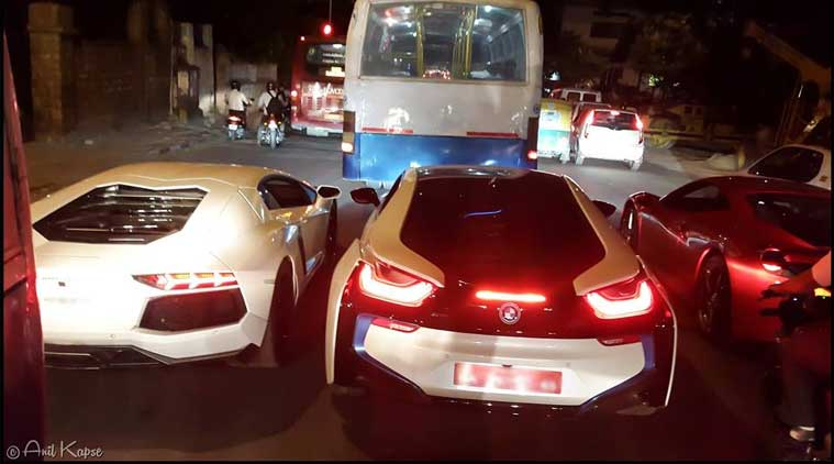 Viral Bmw Ferrari And Lamborghini Stuck In Bangalore