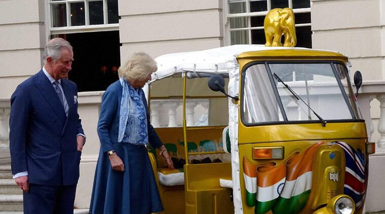 Britain's Prince Charles and wife Camilla Parker Bowles launched the 'Travels to My Elephant' auto rickshaw race fundraiser event to save the Indian elephant at their Clarence House palace in London on Thursday.