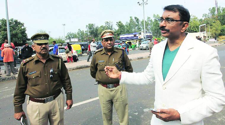 Railway police IG Shrikant Jadhav inspects the area outside the railway station on Wednesday. (Source: Express photo by Jaipal Singh)