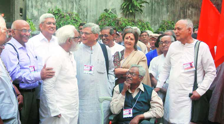 CPM leaders at the 24th State Conference in Kolkata on Monday. (Express photo by Partha Paul)