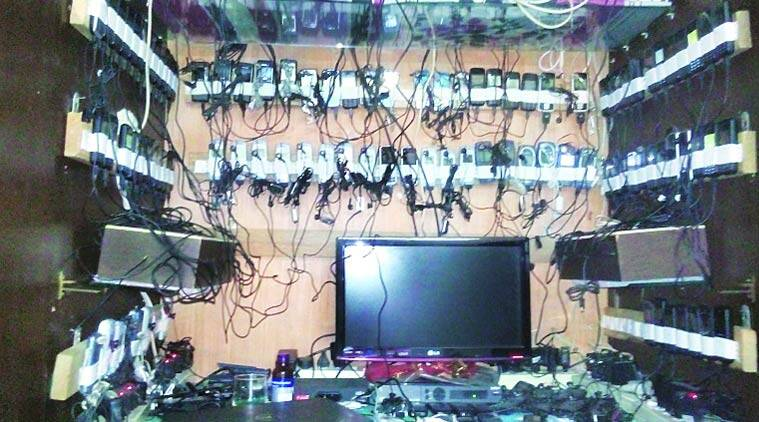The racket, police said, was involved in betting for ongoing World Cup matches. A total of 110 phones were seized. (Source: Express photo)