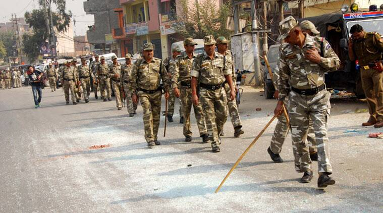CRPF personnel seen patrolling the area. (Source: Express Photo by Gajendra yadav)