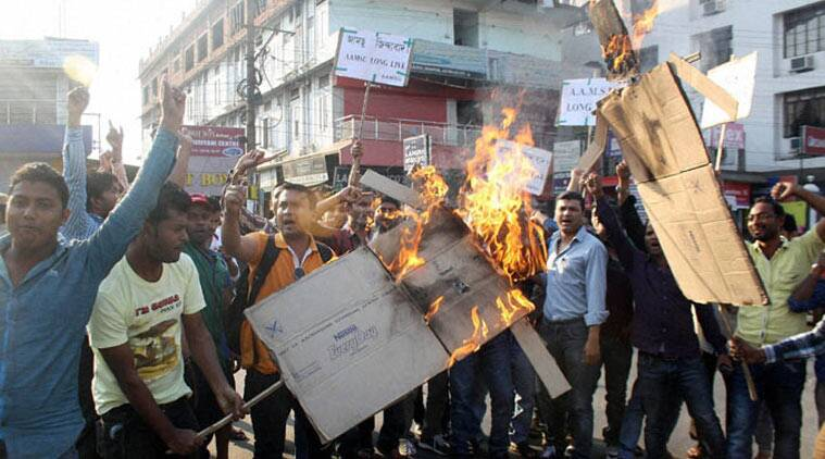 Members of All Assam Minority Students Union (AAMSU) protests against the lynching incident in Dimapur, Nagaland on Friday (PTI photo)