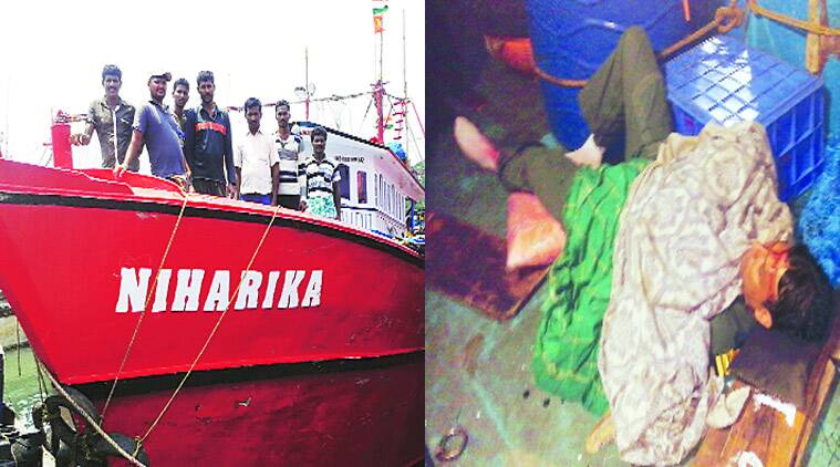 The crew on board Niharika at Mangalore port, Saturday; (right) Lt Commander Nikhil Joshi on the boat, minutes after he was rescued. (Source: Express photo by Harsha Raj Gatty)