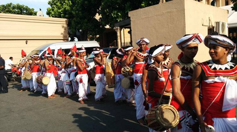 These Sri Lankan drummers welcomed Modi at the Old Parliament building.