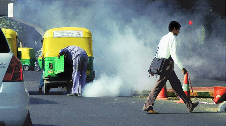 The government is looking to implement the National Green Tribunal's directions to combat air pollution, such as its order to ban 15-year-old vehicles from Delhi roads. (Source: Express archive)