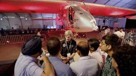 College students visit the solar powered Swiss aircraft Solar Impulse 2 in Ahmedabad on Thursday. (Source: PTI)