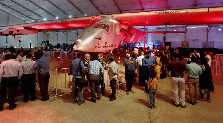 College students and research scholars visiting the solar powered Swiss aircraft Solar Impulse 2 in Ahmedabad on Thursday. (Source: PTI)