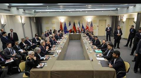 Representatives of world powers meet to pin down a nuclear deal with Iran, on Monday March 30, 2015, in Lausanne, Switzerland.