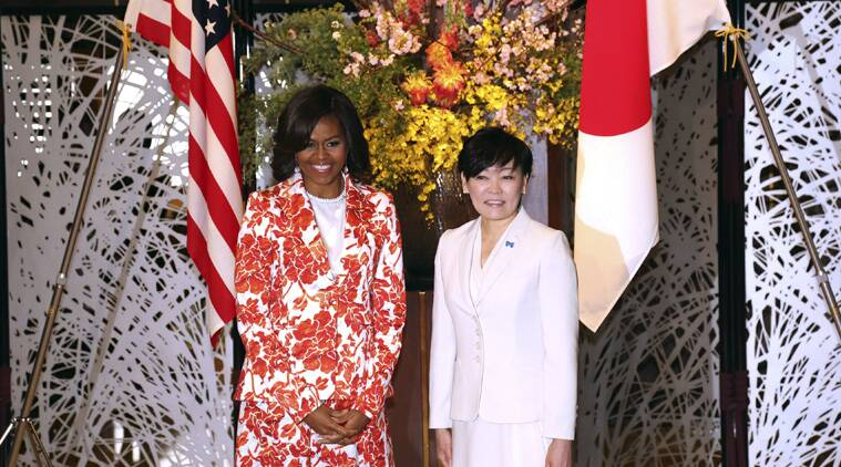 U.S. first lady Michelle Obama, left, and her Japanese counterpart Akie Abe pose at Iikura Guest House in Tokyo, Thursday, March 19, 2015.(AP Photo)