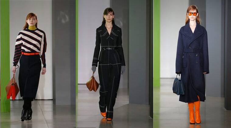 Models wears a creation for Jil Sander women's Fall-Winter 2015-16 collection, part of Milan Fashion Week, unveiled in Milan, Italy, Saturday, Feb. 28, 2015. (Source: AP)