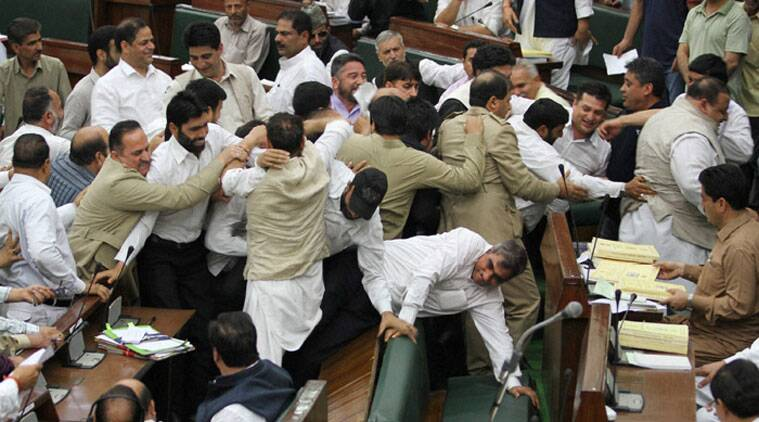 J&K Assembly, J&K Assembly MLAs ruckus, J&K Assembly drama, Mufti Sayeed, PDP-BJP government, State Assembly rucks, Kerala Assembly ruckus, Jammu Kashmir assembly ruckus, Jammu and Kashmir assembly, Jammu and Kashmir assembly fight,Jammu and Kashmir MLAs fight, J&K Assembly ruckus, J&K news, Jammu and Kashmir, IE editorial, Indian Express editorial, Express editorial