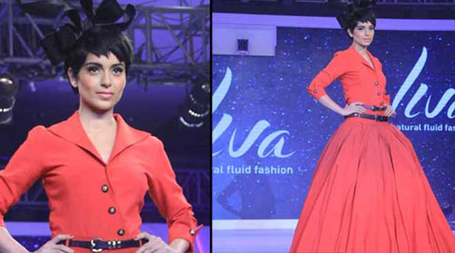 Kangana Ranaut on ramp in coral shades