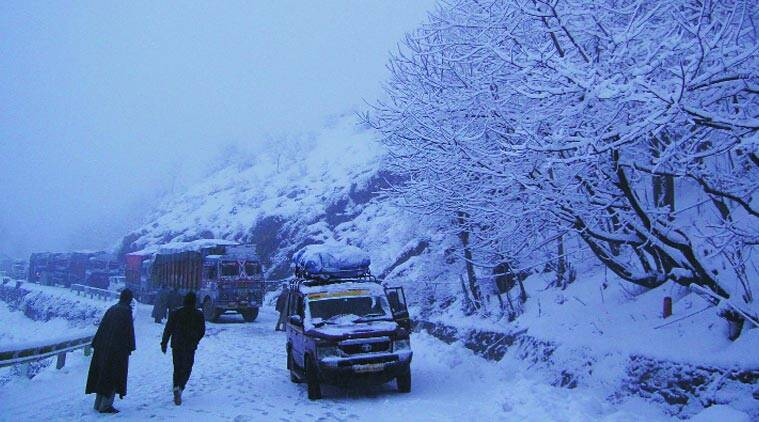 Vehicles stranded on the Jammu national highway on Thursday. (Source: Express Photo)