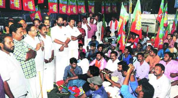 BJP workers protest outside the Assembly in Thiruvananthapuram on Thursday. (PTI)