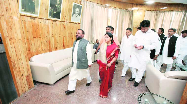 Leader of Opposition Swami Prasad Maurya (left) with other BSP MLAs in Lucknow, Monday. vishal Srivastav