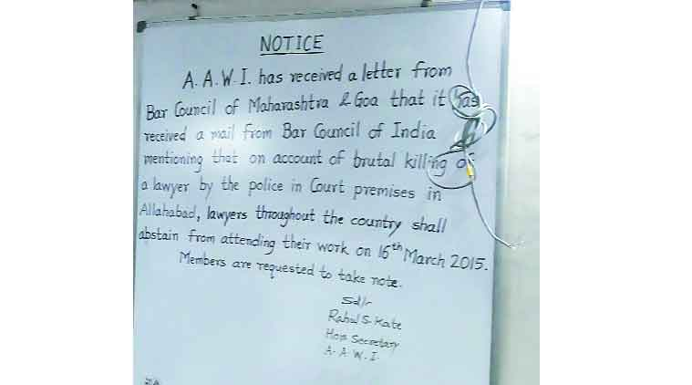 The notice by the Advocates Association of Western India on a  board at the Bombay High Court on Monday. (Source: Express Photo)