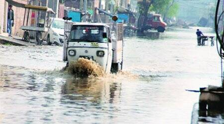 In ward no. 55, students skip school as dug-up road gets flooded in rain