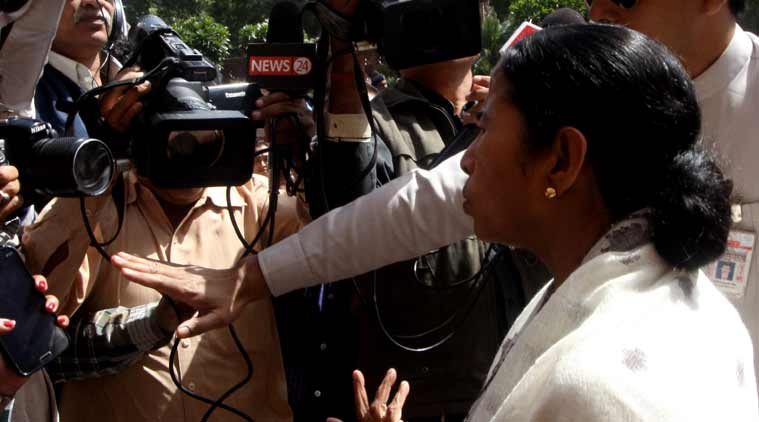 West Bengal C M Mamata Banerjee at the Parliament House in New Delhii on Monday. (Express photo by Prem Nath Pandey)