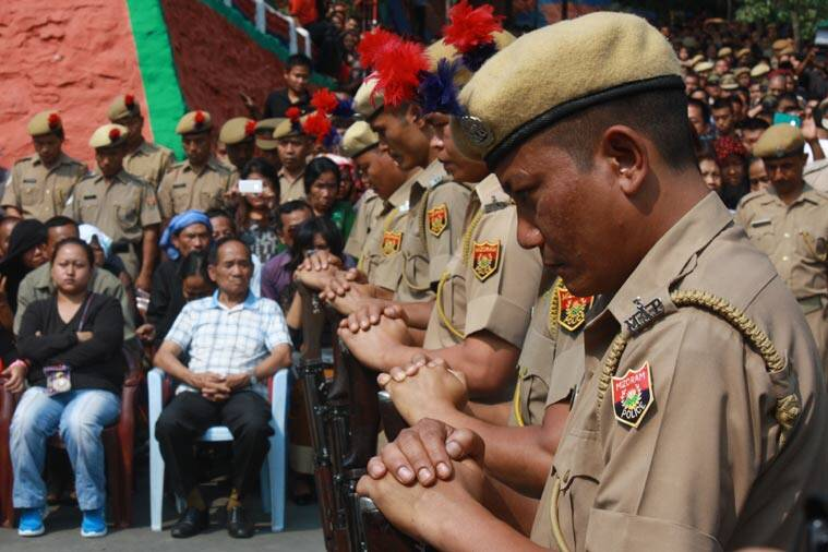 Policemen during the funeral service held for their slain colleagues in Aizawl.