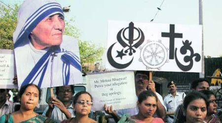 Minorities body holds protest against RSS chief