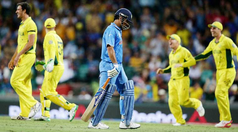 MS Dhoni leaves field after being dismissed for 65 in semi-final against Australia in Sydney. (Source: Reuters)