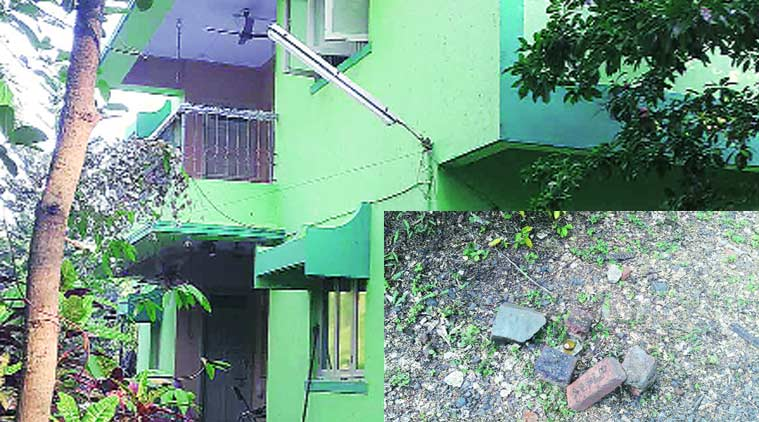 The bungalow where the couple stayed; the spot where Nargis Irani's body was found.  (inset)