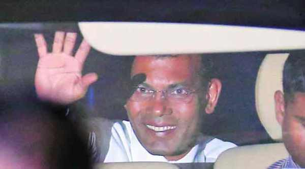 Former president of Maldives Mohamed Nasheed outside the court on Friday, after being sentenced to 13 years in jail. (AP Photo)
