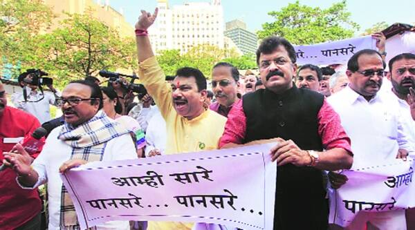 Congress and NCP leaders protest against the killing of Govind Pansare, outside Vidhan Bhavan Monday.