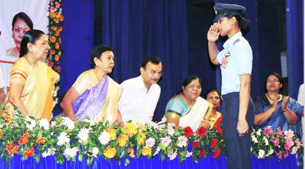 Chief Minister Anandiben Patel honours Squadron Leader Sneha Shekhawat. (Express photo by Javed Raja)