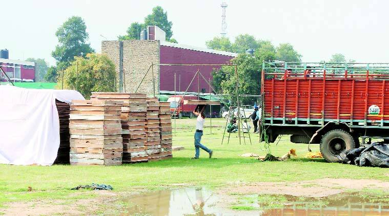 Preparations on for Kisan Mela at PAU in Ludhiana. (Source: Express Photo by Gurmeet Singh)